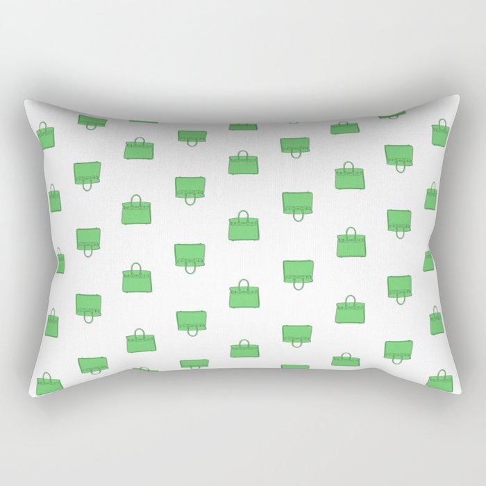 Green Birkin Vibes High Fashion Purse Illustration Rectangular Pillow