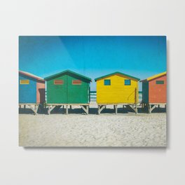 Surf Shacks in Cape Town, South Africa Metal Print