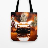 honda Tote Bags featuring HONDA NSX,RACING CAR,NIGHTMARE by ira gora