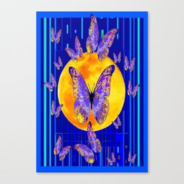 Lilac Patterned Butterfly Full Moon Abstract Canvas Print