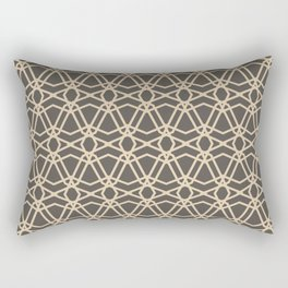 Brown and Tan Line Geometric Pattern Chains 2021 Color of the Year Urbane Bronze and Ivoire Rectangular Pillow