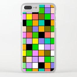 Checker Board Square Pattern Clear iPhone Case