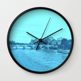 Paris In Blue Wall Clock
