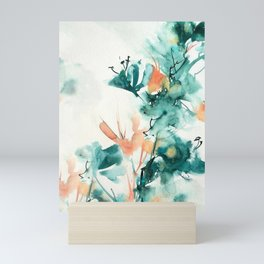 Teal and Coral Watercolor Lilies Mini Art Print