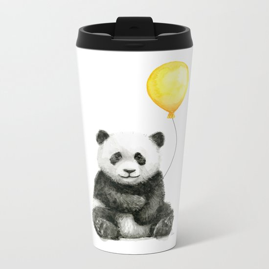 Panda Watercolor Animal with Yellow Balloon Nursery Baby Animals Metal Travel Mug