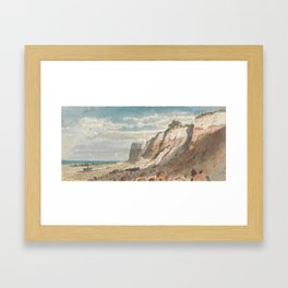Seashore and Cliffs, with a Horse and Cart and a Beached Boat on Shore Framed Art Print