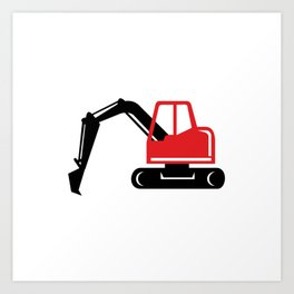 Mechanical Excavator Digger Retro Icon Art Print