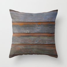 Rustic Wood Panel Boards Aged in Wyoming Throw Pillow