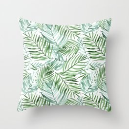 Watercolor palm leaves pattern Throw Pillow