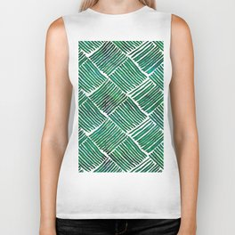 Green Watercolor Streaks Biker Tank