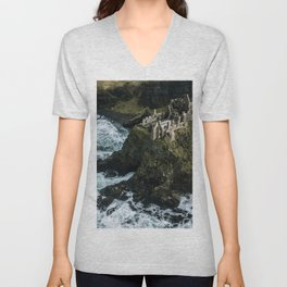 Castle ruin by the irish sea - Landscape Photography Unisex V-Neck