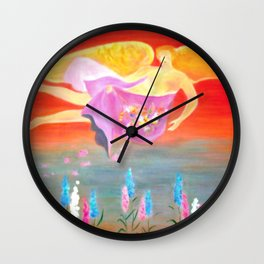 Folk Art Angel Painting Wall Clock