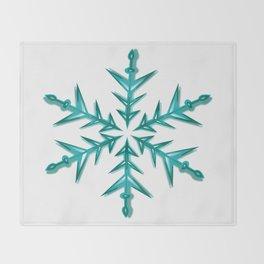 Minimalistic Aquamarine Snowflake Throw Blanket