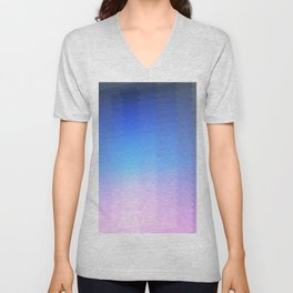 blue pink ombre color gradient abstract pattern Unisex V-Neck