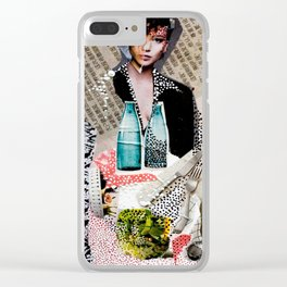Two Bottles - Magazine Collage Painting Clear iPhone Case