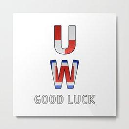 """U"" ""W"" Good Luck - Navy Alphabet - Leather Metal Print"