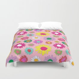 60's Daisy Crazy in Mod Pink Duvet Cover