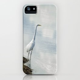 Great Egret on the Shore of a Reflected Sky iPhone Case