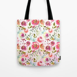 blush pink peonies watercolor fuchsia flowers Tote Bag