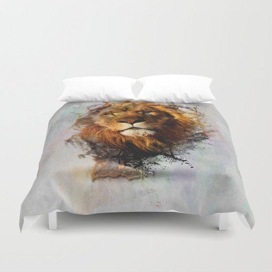 Water Color Splash Lion Duvet Cover