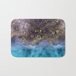 Gold floral mandala and confetti image Bath Mat