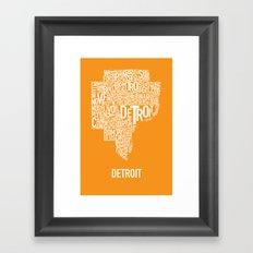 Detroit typography map poster - Orange Framed Art Print
