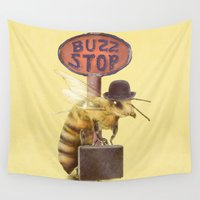 bee Wall Tapestries featuring Worker Bee (colour option) by Eric Fan