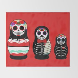 Halloween Russian dolls Throw Blanket