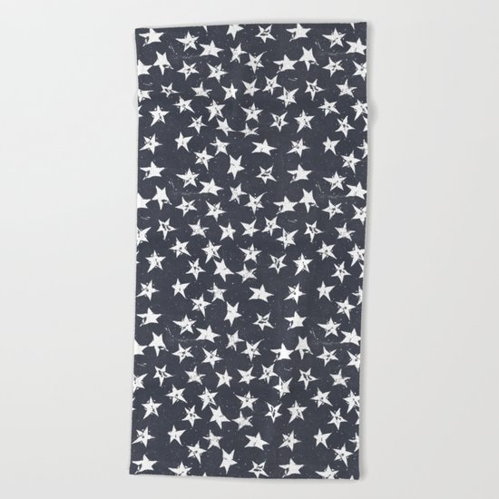 Linocut Stars - Navy & White Beach Towel