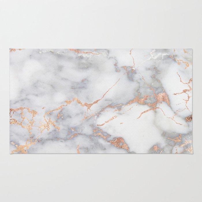grey marble rosegold pink metallic foil style rug
