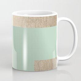 Simply Geometric White Gold Sands on Pastel Cactus Green Coffee Mug