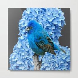 BLUE BIRD & BLUE HYDRANGEAS GREY ART Metal Print