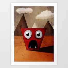 Red Trapezoid Monster Art Print