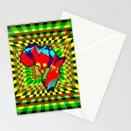 Colorful African Checkered Abstract Print Stationery Cards