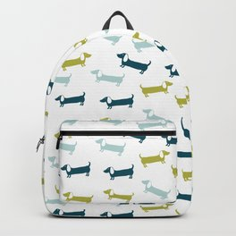 Blue and yellow green dachshunds pattern Backpack