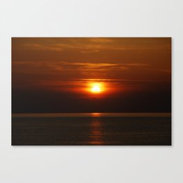 Bird Flying Into The Sunset Canvas Print