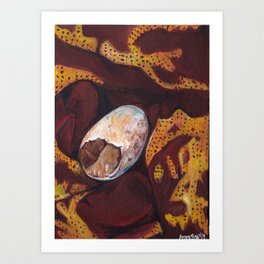 Stone in a scarf Art Print