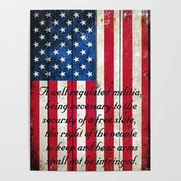 2nd Amendment on American Flag - Vertical Print Poster