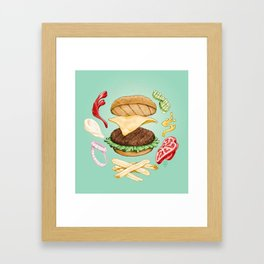 Burger Mandala Framed Art Print