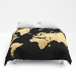 Sleek black and gold world map Comforters