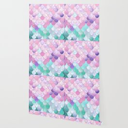 Mermaid Sweet Dreams, Pastel, Pink, Purple, Teal Wallpaper