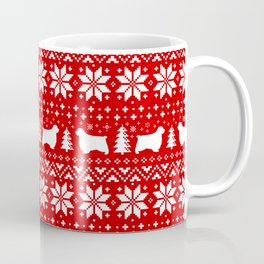 Clumber Spaniel Silhouettes Christmas Sweater Pattern Coffee Mug
