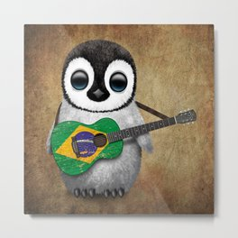 Baby Penguin Playing Brazilian Flag Acoustic Guitar Metal Print