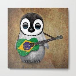Baby Penguin Playing Brazilian Flag Acoustic Guitar Metal Print