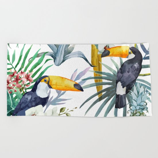 Big Tropical Pattern Toucans Parrot Pineapples Beach Towel