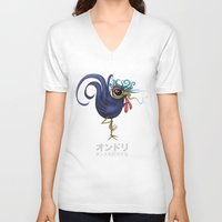 rooster V-neck T-shirts featuring Rooster by Daniel Olguin