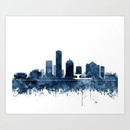 Milwaukee Skyline Blue Watercolor by ZouzounioArt Art Print