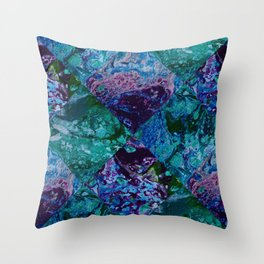 Psycho - Patchwork Quilt with Alternating Blue, Green, Purple Colors by annmariescreations Throw Pillow