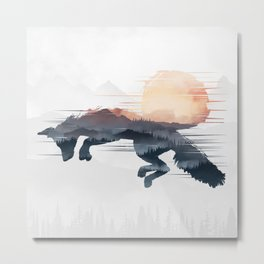 Fox In The Nature Metal Print