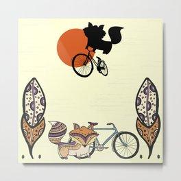 Bicycle Fox Metal Print